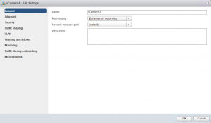 Configuration dVswitch vCenterHA