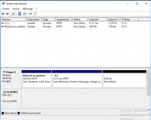 Gestion disk Windows